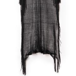 Poncho nero in tessuto laminato ,