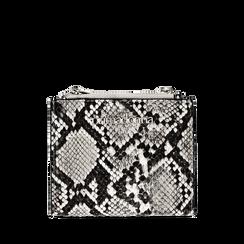 Portafogli quadrato bianco/nero in eco-pelle effetto snake skin, Borse, 132300001PTBINEUNI, 001a