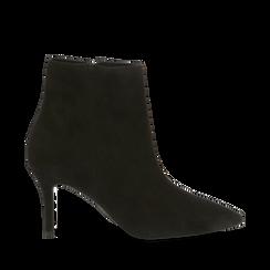 Tronchetti neri in vero camoscio, tacco midi 8 cm, Primadonna, 12D618502CMNERO037, 001a