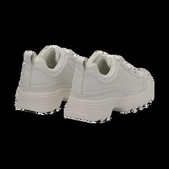 Dad shoes bianche in eco-pelle con suola sagomata, Scarpe, 130101201EPBIAN037, 004 preview