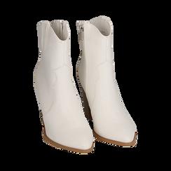 Santiags blanches en simili-cuir, talon 9 cm, Chaussures, 154930037EPBIAN035, 002 preview