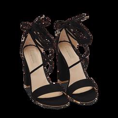 Sandali lace-up neri in microfibra, tacco 10,50 cm, Primadonna, 152760851MFNERO037, 002a