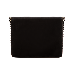 Pochette con tracolla nera in microfibra scamosciata, profili mini-borchie, Saldi Borse, 123308852MFNEROUNI, 002 preview