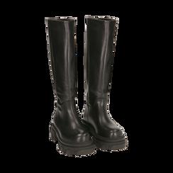 Stivali chunky neri in pelle di vitello, tacco 4 cm, Primadonna, 16A500050VINERO035, 002 preview