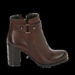 Ankle boots testa di moro in pelle di vitello, tacco 8 cm , Scarpe, 148900604VIMORO036, 001a