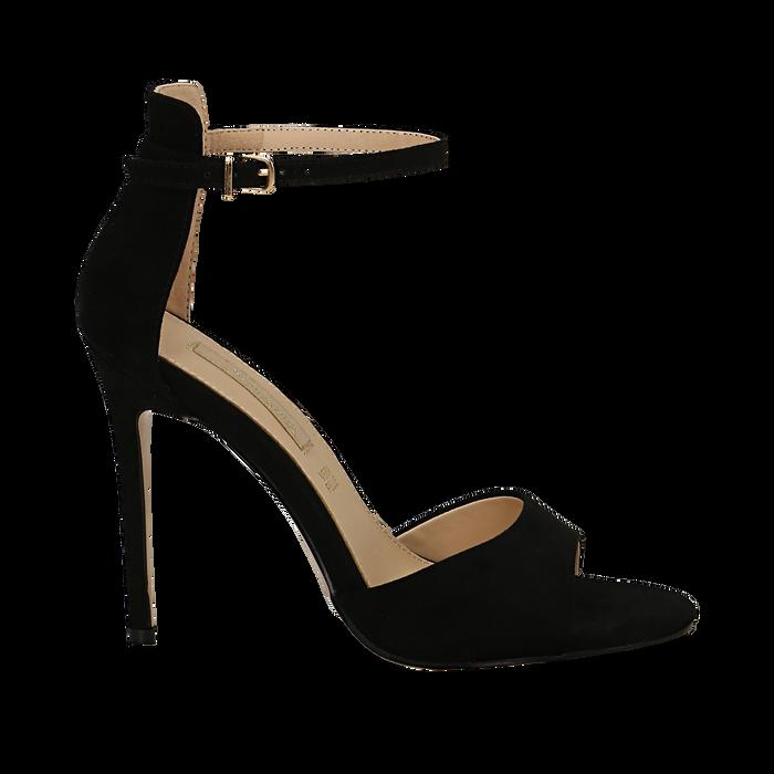 Sandali neri in microfibra, tacco stiletto 10,5 cm, Sandali con tacco, 132131511MFNERO035
