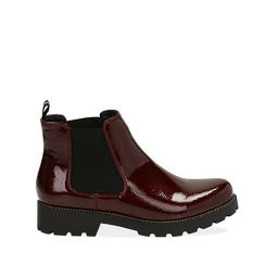 Chelsea boots bordeaux in vernice, Stivaletti, 140608573VEBORD035, 001a