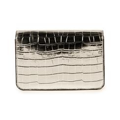 Bolso pequeño en eco-piel con estampado de cocodrilo color plateado, Bolsos, 155701124CCARGEUNI, 003 preview