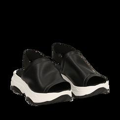Sandali neri in eco-pelle, zeppa 4,50 cm , Scarpe, 136777206EPNERO035, 002a