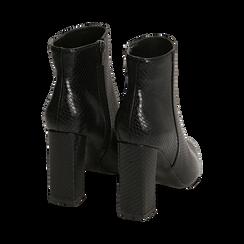 Ankle boots neri in eco-pelle stampa pitone, tacco 9,5 cm , Primadonna, 142186672PTNERO036, 004 preview