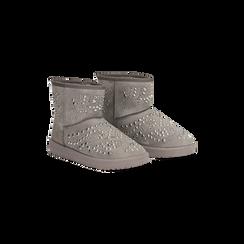 Scarponcini invernali grigi con mini borchie, Scarpe, 12A880115MFGRIG036, 002