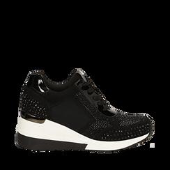 Sneakers nere in lycra con brillantini, zeppa 6 cm , Scarpe, 14A718206LYNERO035, 001a
