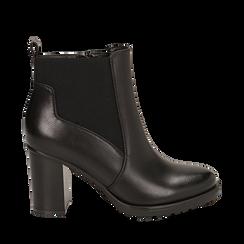 Chelsea boots neri in eco-pelle, tacco 8,5 cm , Scarpe, 143066110EPNERO035, 001a
