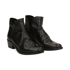 Camperos neri in vera pelle con elastici, tacco 4,5 cm, Scarpe, 131612461PENERO037, 002 preview
