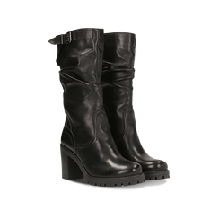 Stivali neri gambale drappegiato in vera pelle, tacco 5 cm, Primadonna, 127723814PENERO041, 002