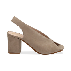 Slingback taupe in camoscio, tacco 8 cm , Primadonna, 13D602014CMTAUP036, 001 preview