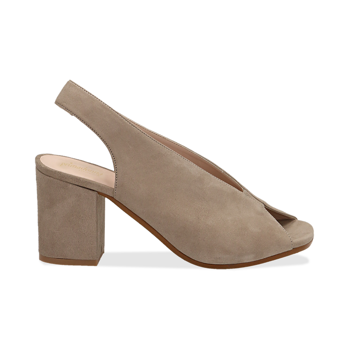 Slingback taupe in camoscio, tacco 8 cm , Primadonna, 13D602014CMTAUP036