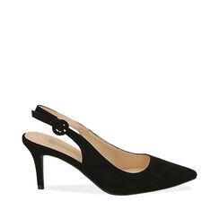 Slingback negro de microfibra, tacón 7 cm, Zapatos, 172133673MFNERO035, 001a