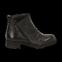 Biker boots neri in pelle di vitello drappeggiata, Primadonna, 14A919608VINERO035, 001 preview