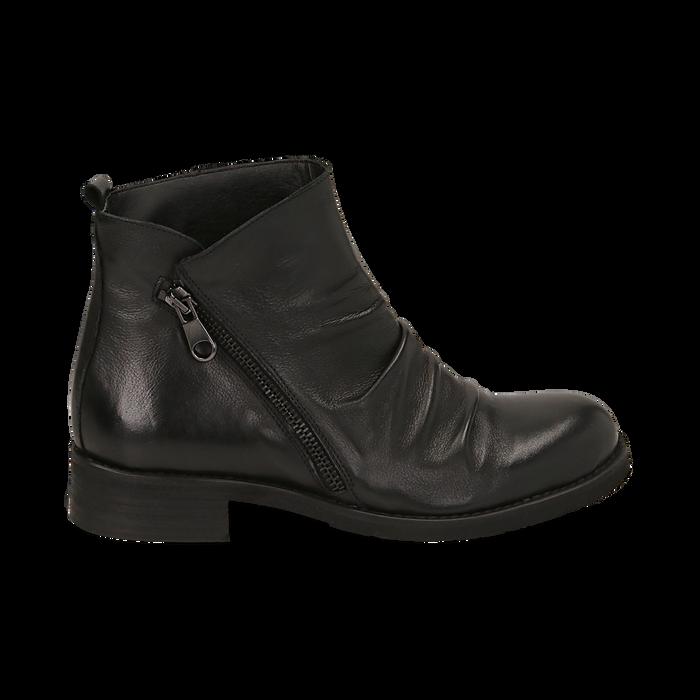 Biker boots neri in pelle di vitello drappeggiata, Primadonna, 14A919608VINERO035