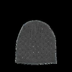 Cappello grigio in tessuto con cristalli, Abbigliamento, 14B406053TSGRIGUNI, 001a