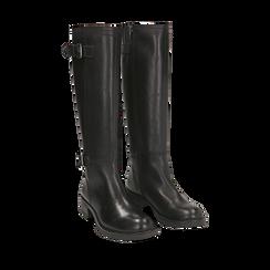 Stivali con fibbie neri in pelle, tacco 4 cm , Scarpe, 146262002PENERO035, 002a