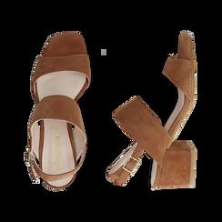 Sandali cuoio in camoscio, tacco chunky 6 cm, Primadonna, 13D602056CMCUOI036, 003 preview
