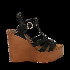 Sandali platform multilistino neri in eco-pelle, zeppa 12 cm , Primadonna, 132147348EPNERO035, 001a