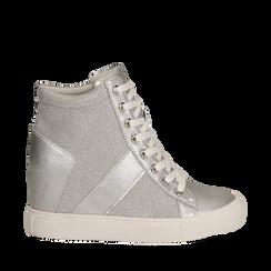 Sneakers argento in tessuto laminato con zeppa, Scarpe, 132005004LMARGE035, 001a