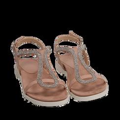 Sandali nude in microfibra con strass, Chaussures, 154928123MPNUDE039, 002a