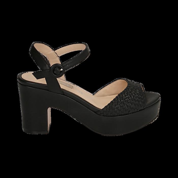 Sandalias en eco-piel trenzada color negro, tacón cuña 8,50 cm , OPORTUNIDADES, 158480212EINERO036