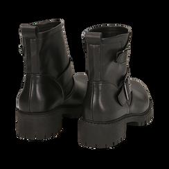 Biker boots con fibbie neri in eco-pelle, tacco 4,5 cm , Stivaletti, 140585663EPNERO036, 004 preview