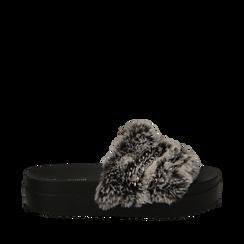 Ciabatte grigie in eco-fur con catenelle, Primadonna, 112061302FUGRIG035, 001a