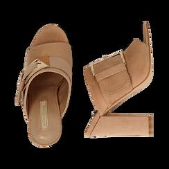 Mules open-toe nude in microfibra con fibbia, tacco 10 cm, Scarpe, 132760838MFNUDE035, 003 preview