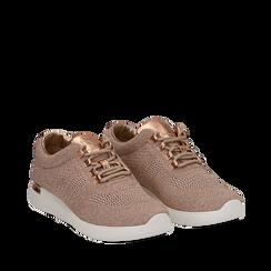 Sneakers rosa in tessuto glitter, Scarpe, 133020229GLROSA036, 002a