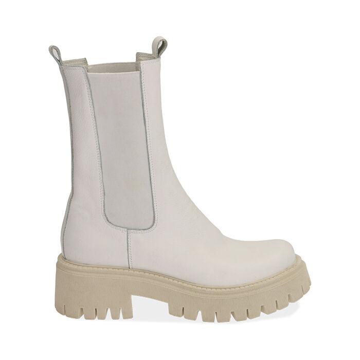 Bikers gruesas de piel en blanco, tacón 5 cm, Zapatos, 177277045PEBIAN036