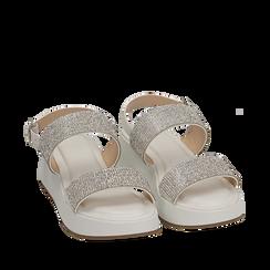 Sandali bianchi in microfibra, zeppa 4,50 cm , Scarpe, 154991102EPBIAN035, 002a