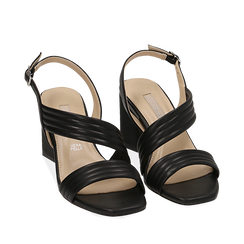 WOMEN SHOES SANDAL ECO-LEATHER NERO, Chaussures, 152117607EPNERO036, 002a