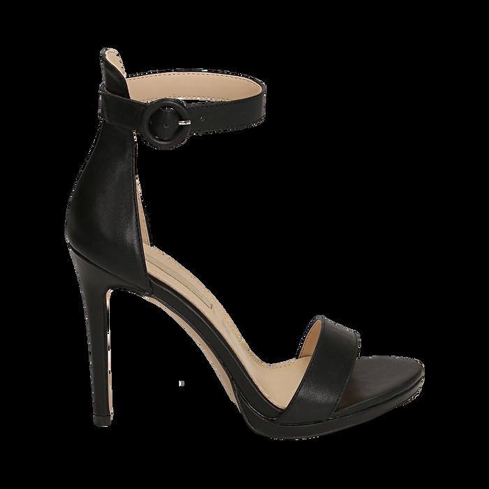 Sandali neri, tacco 11 cm, Primadonna, 152123343EPNERO037