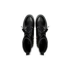 Anfibi neri con dettagli metal, tacco basso, Scarpe, 122946710EPNERO, 004 preview