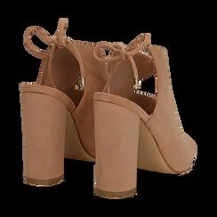 Sandali nude in microfibra con allacciatura alla caviglia, tacco 10,5 cm, Scarpe, 132760824MFNUDE036, 004 preview
