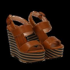 Sandali platform cuoio in eco-pelle, zeppa rigata 13 cm , Primadonna, 134986213EPCUOI035, 002a