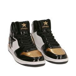 Sneakers in vernice nero/oro, Primadonna, 182621186VENEOR035, 002a