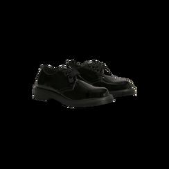 Francesine stringate vernice nera, tacco basso, Scarpe, 122808656VENERO, 002 preview