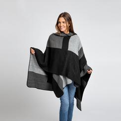 Poncho grigio effetto lamé, stampa a quadri multicolore, Abbigliamento, 12B409678TSNEGR, 003 preview