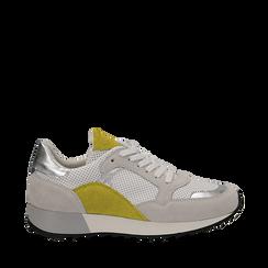 Sneakers bianche in vero camoscio dettagli gialli con suola dentellata, Scarpe, 131602236CMGIAL036, 001a