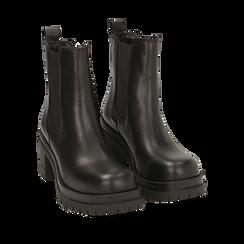 Chelsea boots noires en cuir de veau, talon 7,5 cm, Primadonna, 168900643VINERO039, 002a