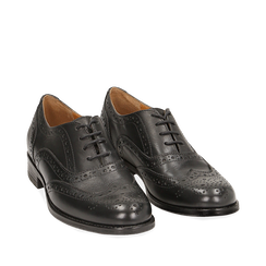 Oxford de piel en color negro, Zapatos, 159908418PENERO035, 002a
