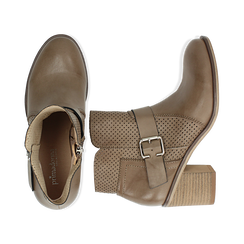 Ankle boots taupe in eco-pelle con gambale traforato, tacco 7 cm, Scarpe, 130682987EPTAUP040, 003 preview