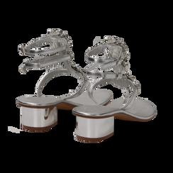 Sandali gioiello infradito argento in laminato, tacco 6 cm, Primadonna, 134986238LMARGE, 004 preview